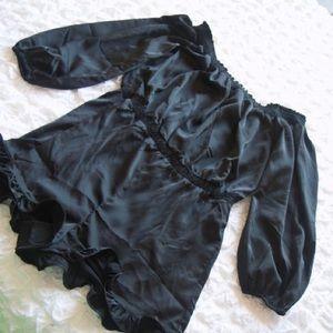 Bebe size medium body short outfit black satin